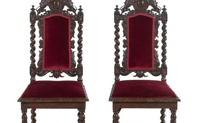 A Pair of Renaissance Revival Carved Walnut Side Chairs