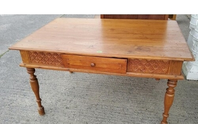 A Victorian style stripped pine kitchen table with tapered l...