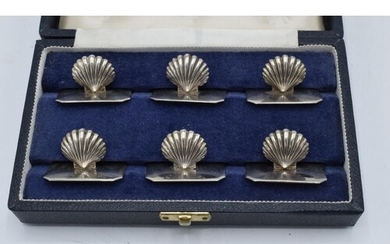 A cased set of 6 Portuguese silver menu holders in the form ...