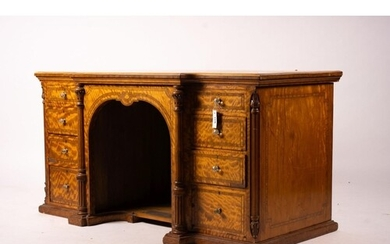 A late Victorian banded satinwood kneehole desk, width 138cm...