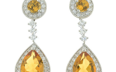 A pair of 18ct gold citrine and diamond earrings, with detachable drop sections.