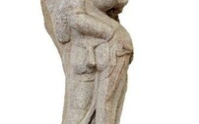 A sandstone Aspara (celestial deity), Central India, Probably Madhya Pradesh, 10th-11th century, depicted with her right hand placed upon her hip, wearing a diaphanous robe with trailing scarves, extensive jewellery and a multi-stranded belt; with...