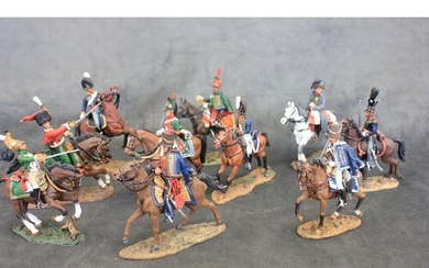A set of 10 painted lead Napoleonic style horse mounted figu...