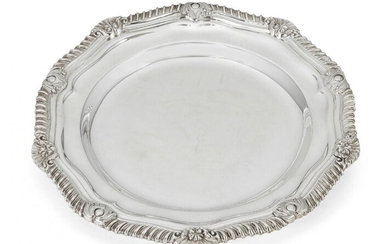 A set of twelve silver side plates, Sheffield, c.1966, CJ Vander, of shaped, circular form, each designed with gadroon and shell border, 16.5cm dia., total weight approx. 101.7oz (12)