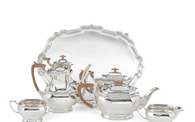 A silver four-piece tea and coffee service together with a tray