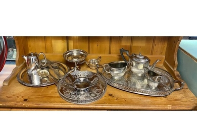 A silver plated teaset, gallery tray, flatware etc