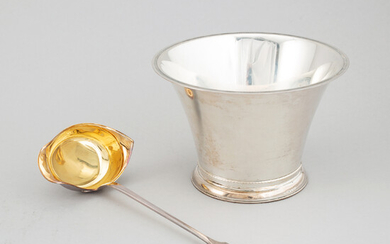 A swedish silver bowl and a finnish parcel-gilt silver soup ladle.