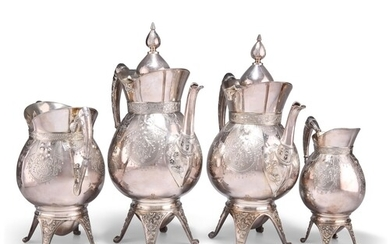 AN AMERICAN SILVER-PLATED FOUR-PIECE TEA AND COFFEE SERVICE,...