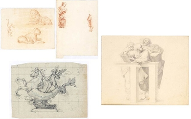 ANONYMOUS, 19th CENTURY Group of four drawings by different authors:...