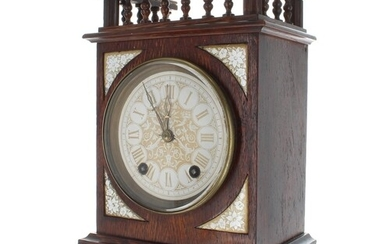 Aesthetic oak two train mantel clock, with a turned spindle ...