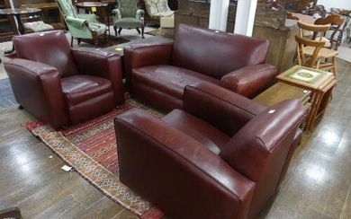An Art Deco three piece Suite, comprising two seater sofa an...