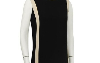 Anonymous Black Wool Shift Dress with Cream Detail