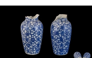 Antique Chinese Vases Blue & White, comprising: Two Chinese ...