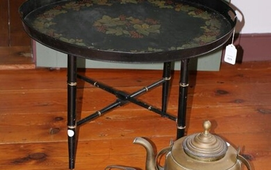 Antique Tole Tray on Stand with Brass Kettles