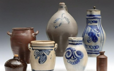 BLUE DECORATED AND OTHER EUROPEAN STONEWARE VESSELS