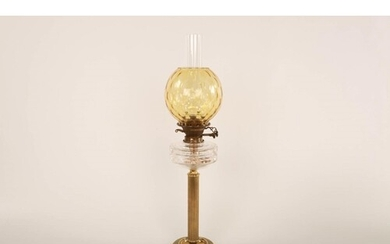 Brass oil lamp Amber glass globe, clear glass oil container ...
