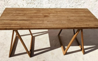 Lot Art Butcher Block Island Table By Le Gourmand