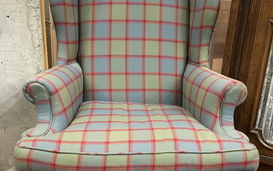 CHIPPENDALE STYLE GRAY AND RED WINDOWPANE PLAID UPHOLSTERED WING CHAIR....