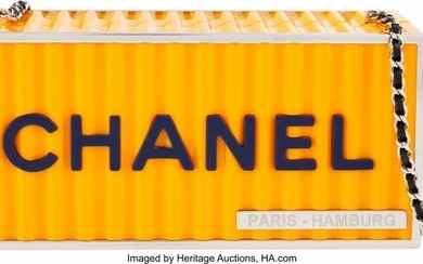 Chanel Runway Yellow Lucite Container Clutch wit