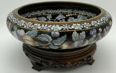 Chinese Cloisonné Bowl with Wooden Stand