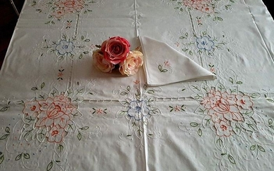 Elegant tablecloth x 12 (including 12 napkins) with Intaglio embroidery and hand satin stitch - Cotton, Linen