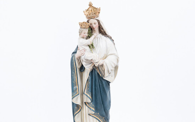 Figure / sculpture, Our Lady with Child, plaster, polychromed, 1901.