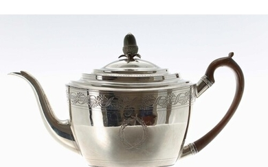 George III silver teapot, with hardwood handle and acorn fin...