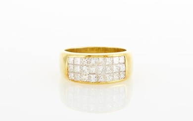 Gold and Invisibly-Set Diamond Ring