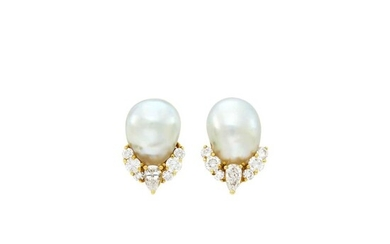 Henry Dunay Pair of Gold, Baroque Cultured Pearl and Diamond Earclips