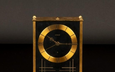 Jaeger LeCoultre, Gilt Metal Desk Clock with Alarm and