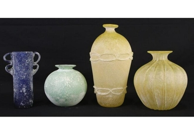 LOT OF FOUR ROMAN STYLE GLASS VASES