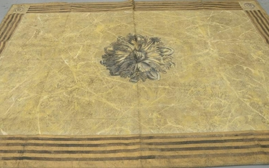 Large Canvas Painted Rug, having a brown floral design