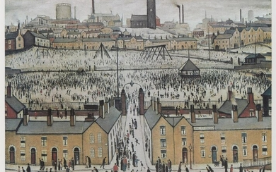 Laurence Stephen Lowry RBA RA, British 1887-1976- Britain at Play; offset lithograph in colours on wove, signed in pencil, from the edition of 850, printed by Beric Press, published by Mainstone Publications, with the Fine Art Trade Guild...