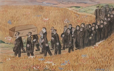 """Germaine Coupet dit EXISTENCE (1892 -1952) )Burial in Limousin, 1936Gouache.Signed and dated lower right.Signed and dated lower right. Signed and annotated on the back """"Bergère Limousine - Existence by Marie Laurence - Dobazé surname of Existence..."""