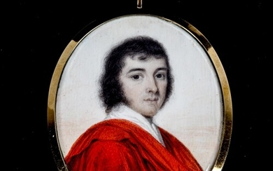 Miniature painted portrait on ivory of a gentleman wearing a...