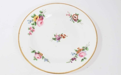 Nantgarw plate, circa 1817-20, polychrome painted with flowers with gilt rim, impressed mark to base, 21cm diameter