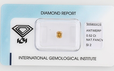 Natural Fancy Orangy Yellow Diamant 0,52 ct si1