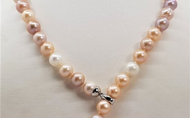 No reserve price - 10x11mm Multi Cultured Pearls - 925 Silver - Necklace