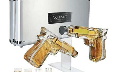Novelty Pistol Shot Glasses Whiskey Decanters With Case