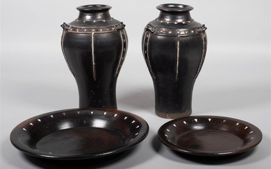 PAIR OF CONTINENTAL STYLE CERAMIC VASES AND TWO SIMILAR GRADUATED ROUND PLATTERS