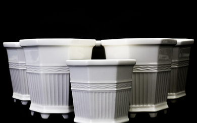 "PRINCE EUGEN. outer lining 6 pcs, so-called ""Waldemarsudde pot"" white glazed stoneware Gustavsberg, second half of the 20th century."