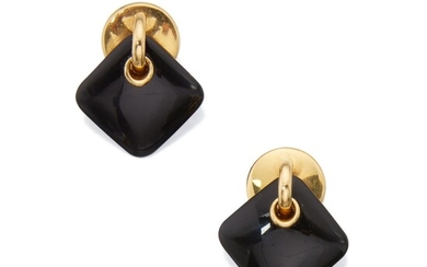 Pair of Gold and Onyx Pendant-Earclips, Aldo Cipullo for Cartier