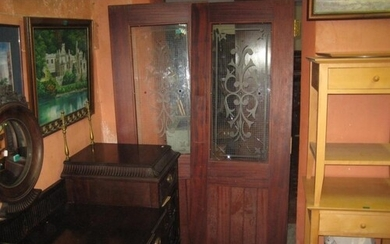 Pair of Mahogany Fire Doors, Georgian Wire Glass with Design...
