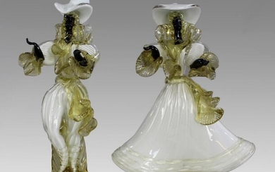 Pair of Murano Glass Figures by Cesare Toffolo