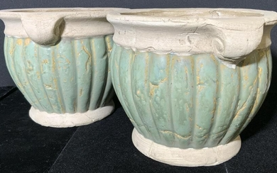 Pr Vntg NORCAL Signed Stoneware Outdoor Planters