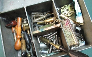 Sectional tin containing a large selection of sporting gun a...