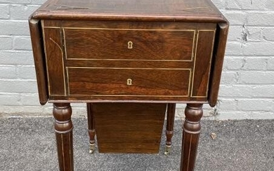 Sheraton Style Drop Leaf Banded Inlay End Table