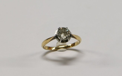 Solitaire ring in gold 750 ‰ set with claws with...
