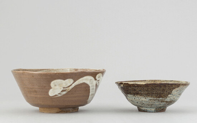 Two Japanse ceramic bowls by unknown master, signed Inu, 20th Century.