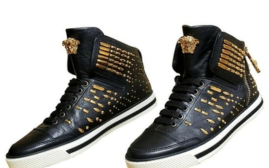 VERSACE STUDDED HIGH-TOP SNEAKERS with GOLD MEDUSA side
